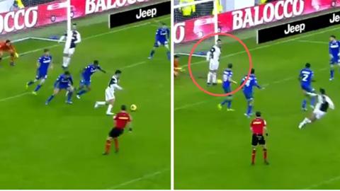 Ronaldo cứu Sassuolo khỏi bàn thua khi chặn cú sút của Dybala