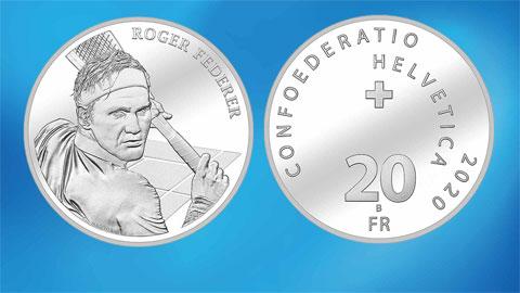 Federer được in hình trên đồng xu franc Thụy Sỹ