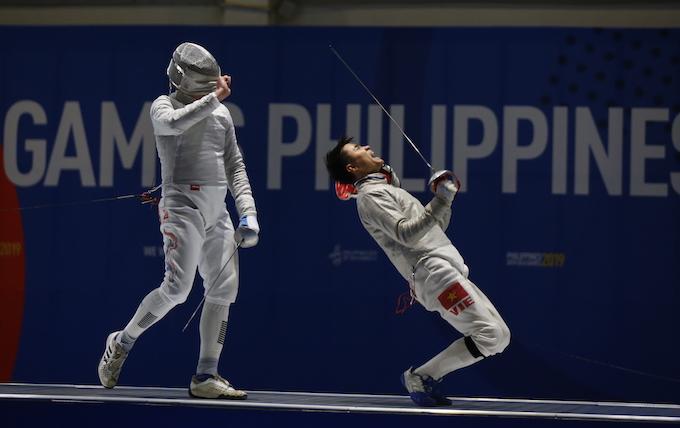 Sự phấn khích của Vũ Thành An khi giành chiến thắng ở trận chung kết. Ảnh: Đức Cường