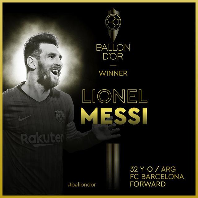 Messi bỏ túi Quả bóng vàng thứ 6