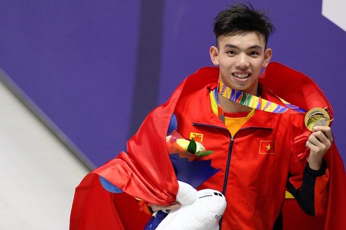 Huy Hoàng giành HCV đầu tiên ở cự ly 400m tự do. Ảnh: Đức Cường
