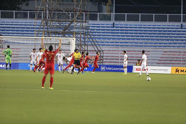 U22 Indonesia ăn mừng bàn thắng. Ảnh: Trí Công/ Đức Cường