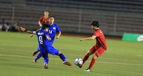 ĐT nữ Việt Nam chơi ép sân và bỏ lỡ khá nhiều cơ hội ngon ăn - Ảnh: Trí Công/Đức Cường