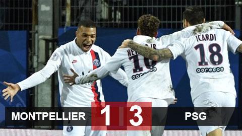Montpellier 1-3 PSG: Tam tấu Neymar, Mbappe và Icardi giải cứu trọc phú