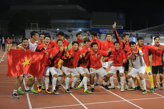 Niềm vui của đội tuyển U22 Việt Nam khi giành HCV - Ảnh: Đức Cường