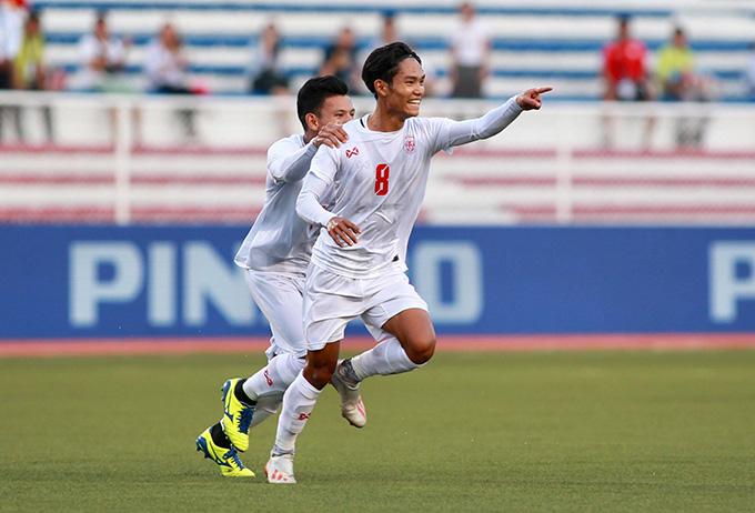 Kuang Mann ghi bàn gỡ hòa cho U22 Myanmar - Ảnh: Đức Cường