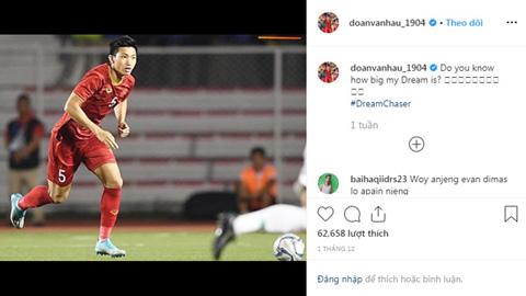 Instagram của Đoàn Văn Hậu bị fan Indonesiatấn công