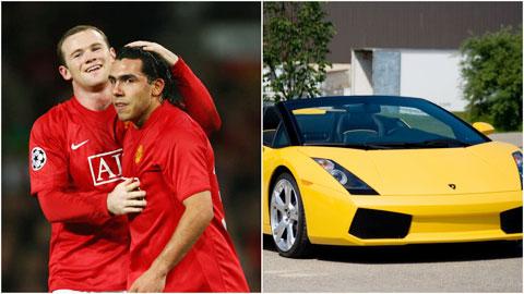 Hậu trường sân cỏ 11/12: Tevez được Rooney tặng siêu xe Lamborghini