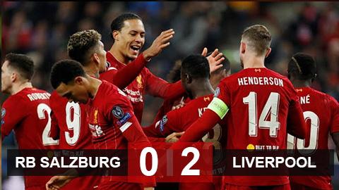 Salzburg 0-2 Liverpool: The Kop đi tiếp với tư cách nhất bảng