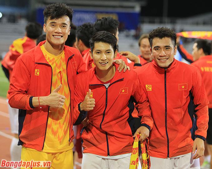 Ba cầu thủ quê Thanh Hóa của U22 Việt Nam: Tiến Dũng, Trọng Hùng, Tiến Dụng.