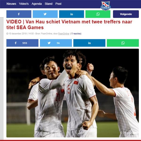 Trang Fean Online đưa tin về chiến thắng của U22 Việt Nam
