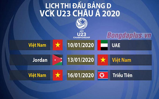 Lịch thi đấu của U23 Việt Nam