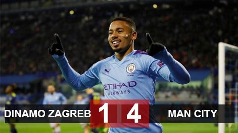 Dinamo Zagreb 1-4 Man City: Gabriel Jesus lập hat-trick, thầy trò Guardiola tìm lại cảm hứng chiến thắng