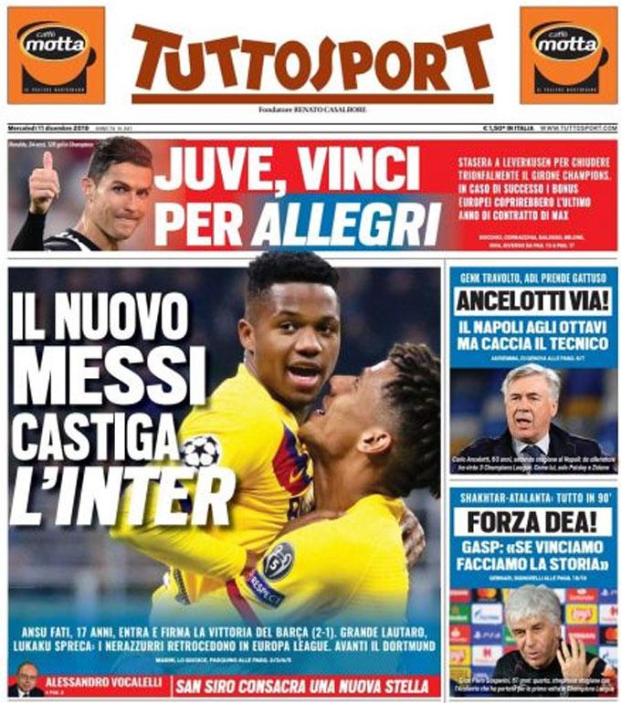 Trang bìa tờ Tuttosport so sánh Fati với Messi