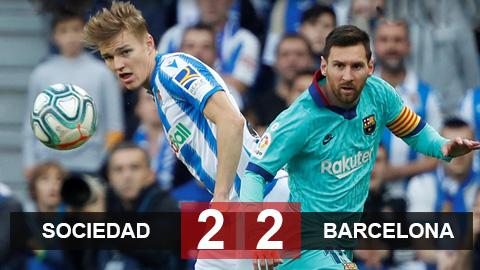 Sociedad 2-2 Barca: Messi nhạt nhòa, Barca gặp bất lợi trước thềm Siêu kinh điển