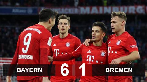 Bayern 6-1 Bremen: Coutinho rực sáng, Hùm xám cắt mạch thua ở Bundesliga