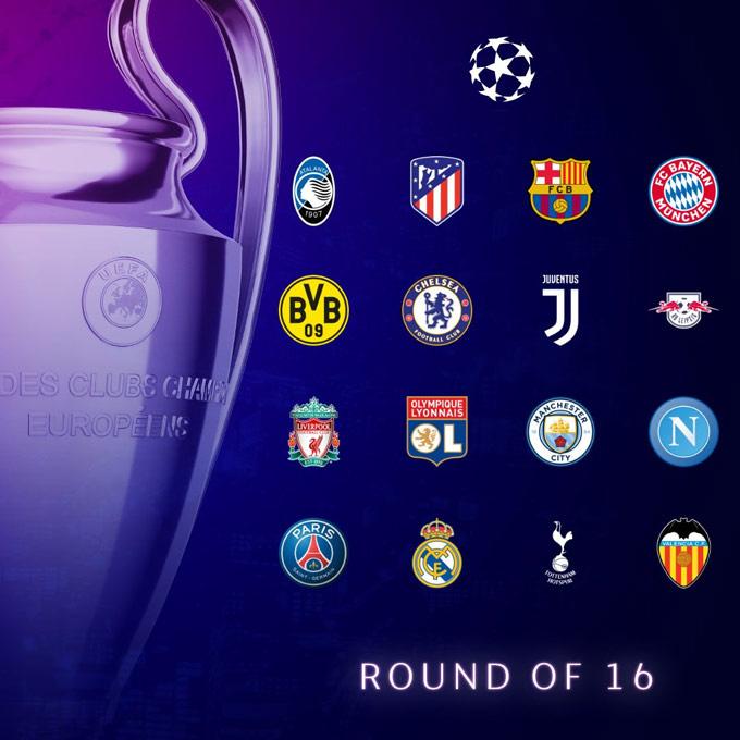 16 đội bóng sẽ góp mặt ở vòng 1/8 Champions League