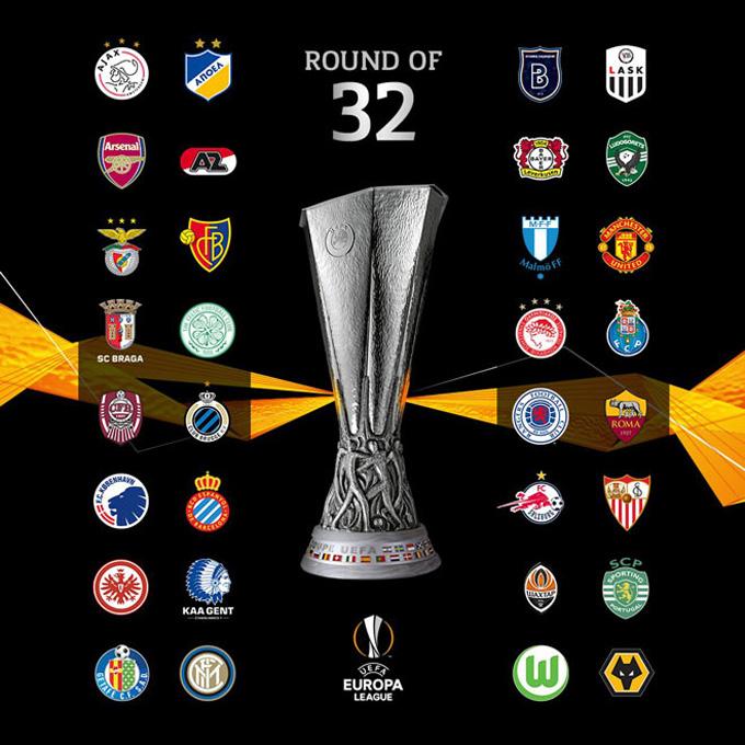 32 đội bóng sẽ góp mặt ở vòng 1/16 Europa League