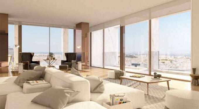 Chỉ cần mở cửa, phòng khách trong căn hộ của Ronaldo luôn tràn ngập ánh nắng