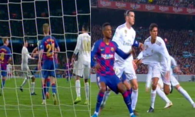 Varane bị Rakitic kéo áo (ảnh phải) và va chạm với Lenglet (trái)