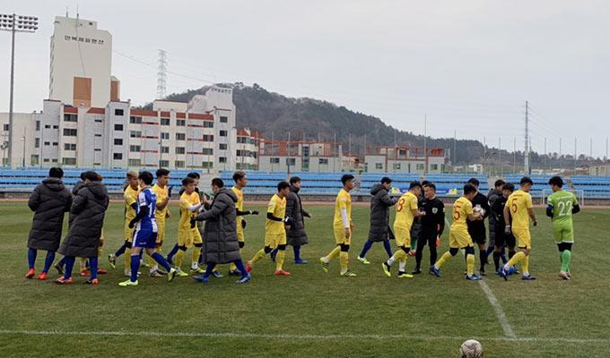 U23 Việt Nam khép lại chuyến tập huấn Hàn Quốc bằng 1 trận hoà, 1 trận thắng - Ảnh: VFF