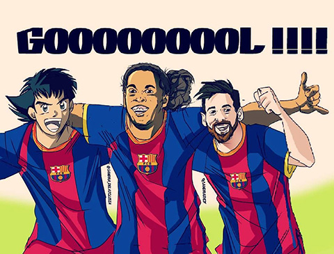 Fan mơ đến cảnh Tsubasa chơi bóng bên cạnh Ronaldinho và Messi