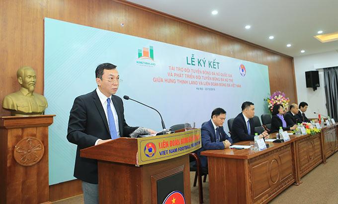 Phó Chủ tịch thường trực VFF - Trần Quốc Tuấn nhấn mạnh thành công của đội tuyển nữ Việt Nam - Ảnh: Đức Cường