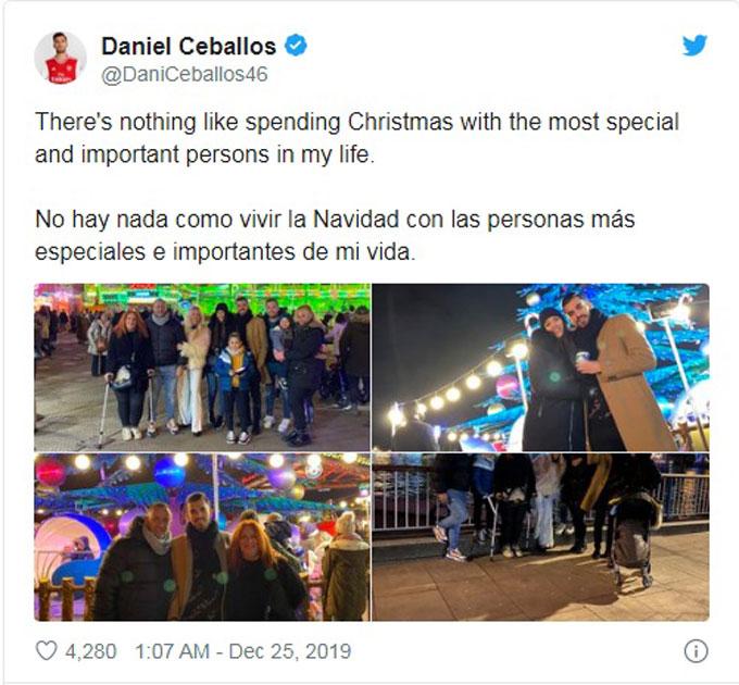 Tiền vệ Dani Ceballos đang chấn thương đã tranh thủ đón Giáng sinh cùng bạn bè