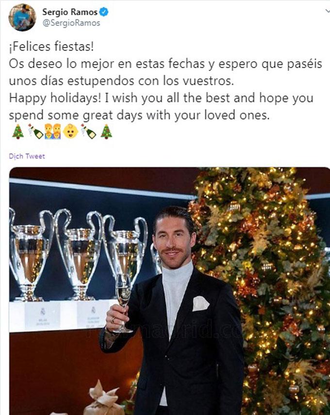 Trung vệ đội trưởng của Real và ĐT Tây Ban Nha, Sergio Ramos gửi lời chúc Giáng sinh tới NHM