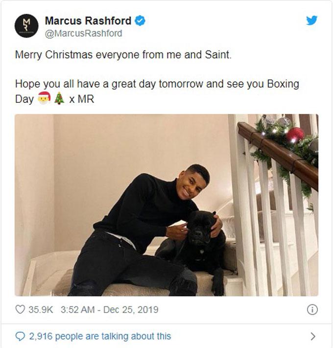 Tiền đạo Marcus Rashford đón Giáng sinh bên chú cún cưng