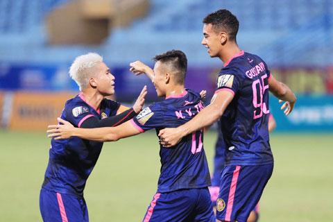 Cầu thủ Sài Gòn FC ăn mừng bàn thắng tại V.League 2019 - Ảnh: Đức Cường