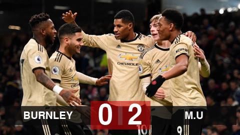 Burnley 0-2 M.U: Martial và Rashford đưa Quỷ đỏ vào top 5