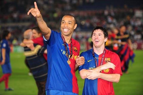 Henry từng có 3 mùa thành công trong màu áo Barca cùng Messi