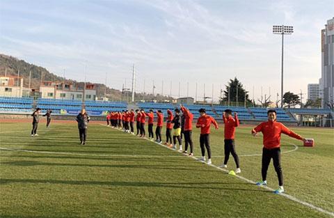 Hình ảnh tuyển U23 Việt Nam trong buổi tập đầu tiên tại Hàn Quốc.