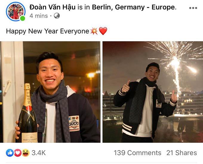 Văn Hậu check-in ở Đức khi đón năm mới 2020