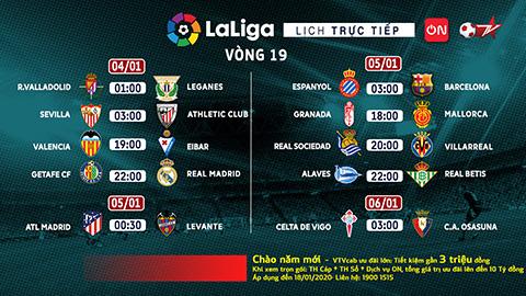Vòng 19 La Liga trực tiếp trọn vẹn trên VTVcab