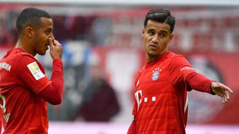 Nếu chơi đúng với khả năng, Coutinho (phải) và Thiago hoàn toàn có thể đóng góp nhiều hơn nữa cho Bayern