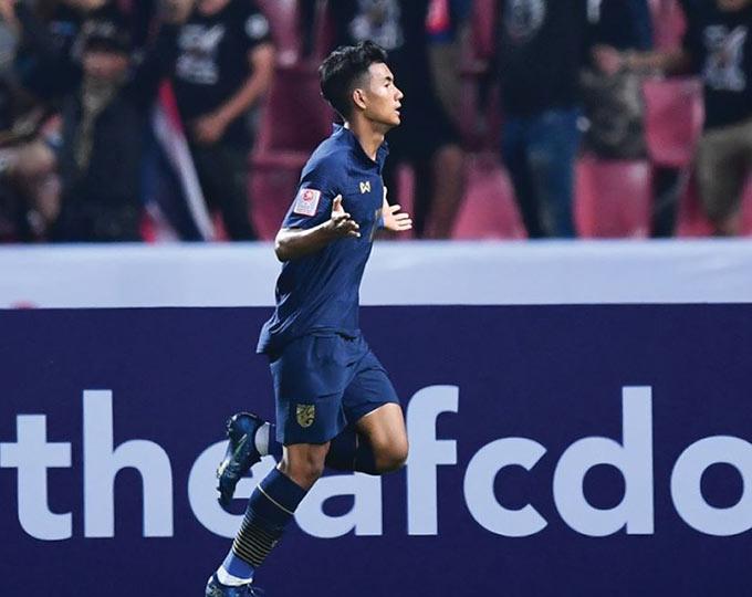 Suphanat ghi bàn vào lưới U23 Bahrain.