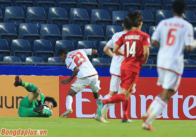 Bùi Tiến Dũng đã giữ sạch lưới cho U23 Việt Nam. Lần đầu tiên trong trận ra quân ở VCK U23 châu Á, U23 Việt Nam không thủng lưới.