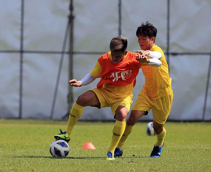 U23 Việt Nam tích cực tập luyện để hướng đến trận thắng trước U23 Jordan. Ảnh: Minh Tuấn