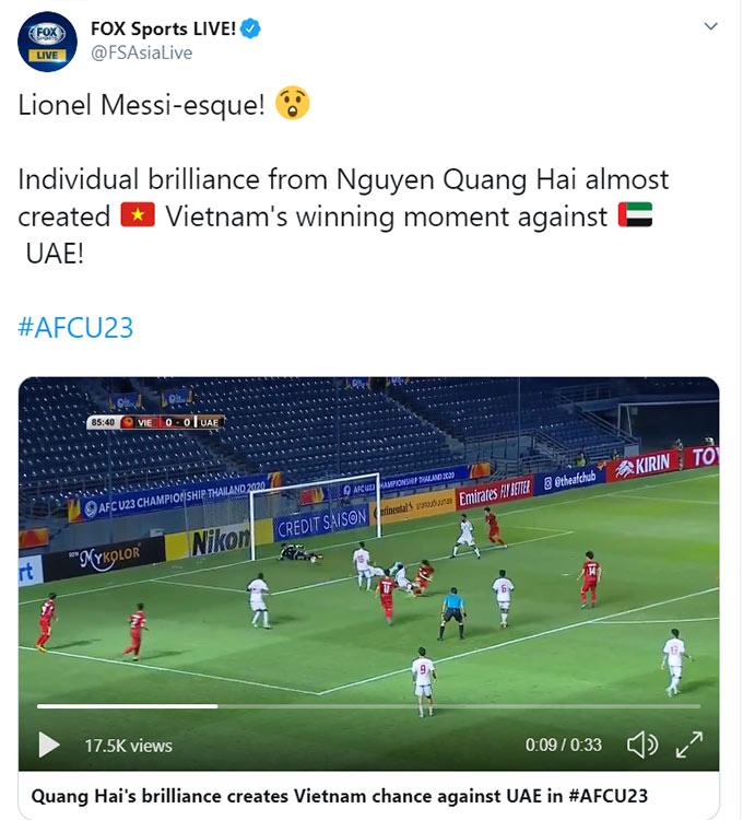 Pha đi bóng của Quang Hải được ví như Messi