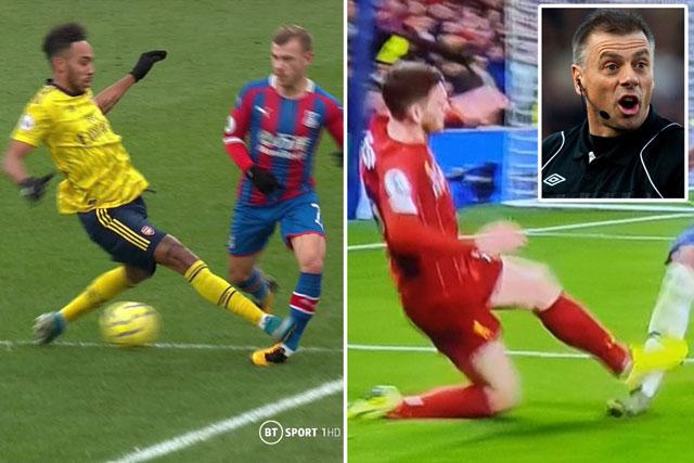 Cú vào bóng của Aubameyang nhận thẻ đỏ, còn Robertson (Liverpool) thì lại không khiến người Arsenal bức xúc