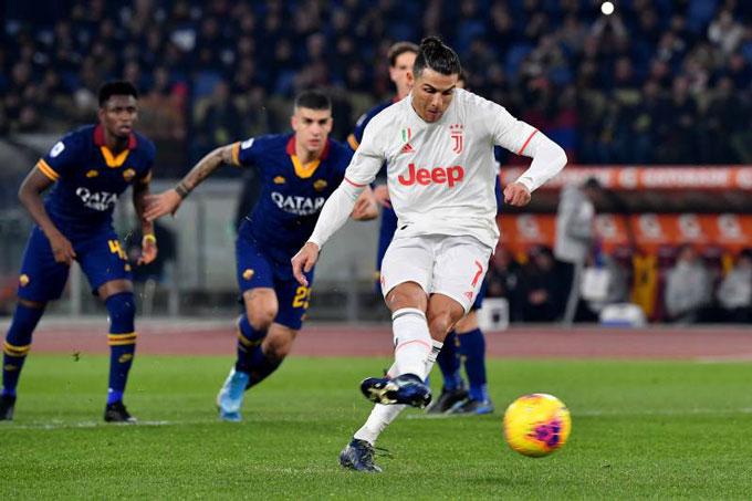 Ronaldo nâng tỷ số lên 2-0 sau khi thực hiện thành công quả penalty