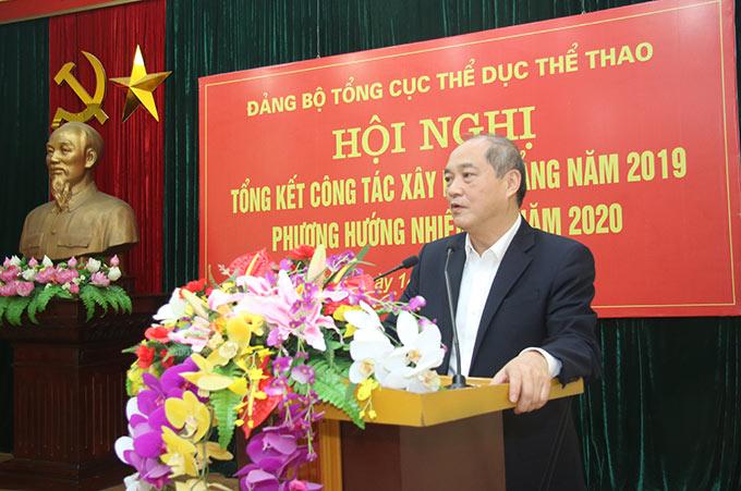 Đồng chí Vương Bích Thắng - Bí thư Đảng ủy, Tổng cục trưởng Tổng cục Thể dục Thể thao (TDTT) phát biểu tại Hội nghị - Ảnh: Bùi Lượng