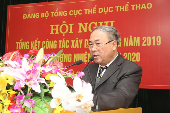 Đồng chí Phạm Gia Huy - Vụ trưởng, Phó Bí thư Đảng ủy, Tổng cục TDTT báo cáo Tổng kết công tác năm 2019 và phương hướng năm 2020 - Ảnh: Bùi Lượng