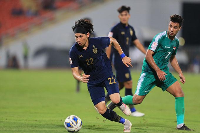 U23 Thái Lan (xanh đậm) hòa trên cơ với U23 Iraq - Ảnh: Minh Tuấn