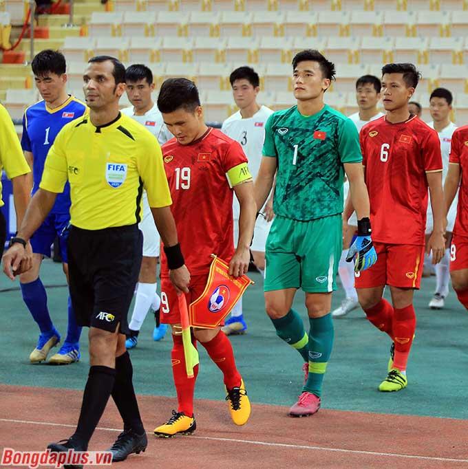 Quang Hải, trong vai trò đội trưởng U23 Việt Nam bước vào trận cuối vòng bảng mang tính quyết định gặp U23 Triều Tiên