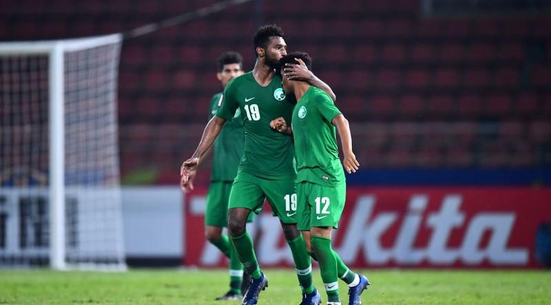 Niềm vui của các cầu thủ U23 Saudi Arabia sau khi giành quyền vào chơi bán kết U23 châu Á 2020 - Ảnh: AFC
