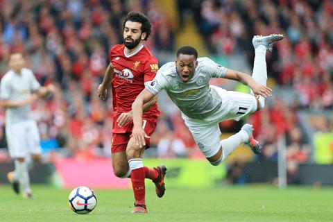 Salah (áo đỏ)chưa một lần ghi bàn hay kiến tạo sau 4 lần gặp M.U tại Premier League