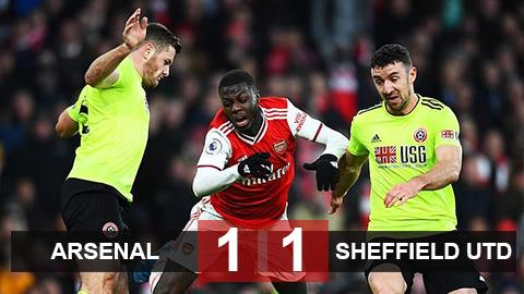 """Arsenal 1-1 Sheffield Utd: Vắng Aubameyang, Arsenal sảy chân trước """"hiện tượng"""" Sheffield United"""